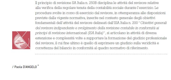Periodic audits in Italy: Standard on Auditing (SA) Italia 250B.
